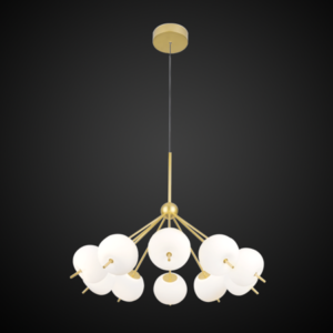 Żyrandol na klatkę schodową ALTAVOLA DESIGN: Ekskluzywna lampa LED wisząca złoto biała – APPLE 10