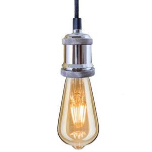INDUSTRIAL CHIC-CHROM-ŻARÓWKA LED EDISON-LAMPA WISZĄCA bf19